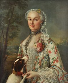 Francois Hubert Drouais (French, 1727-1775)  Portrait of a lady with her dog.