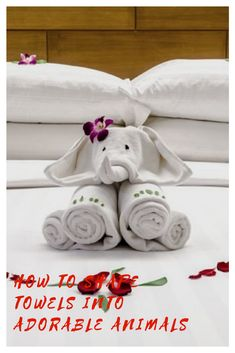 How To Make Adorable Towel Animals As Good As The Ones You've Seen While On Vacation How To Shape Towels Into Adorable Animals Baby Shower Wall Decor, Bathroom Towel Decor, Save On Crafts, Fun Crafts, Elephant Towel, Towel Origami, Diaper Crafts, Towel Animals, How To Fold Towels