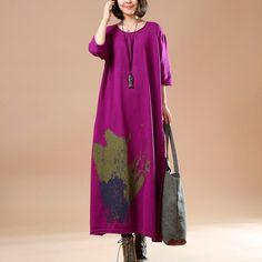 Women cotton sweater dress,machine wash.buykud dresses