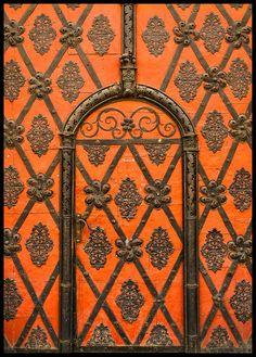 A matching door and facade in Prague, Czech Republic. Door to the World. Les Doors, Windows And Doors, Cool Doors, Unique Doors, Knobs And Knockers, Door Knobs, Orange Door, When One Door Closes, Door Gate