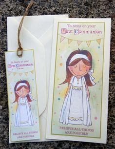 Items similar to Girls First Communion Card with Personalised Bookmark, Holy Communion Card for Little Girl, First Holy Communion Personalised Card on Etsy First Communion Cards, First Holy Communion, Custom Bookmarks, Bookmark Printing, Evie, Kid Names, Your Cards, Holi, Little Girls