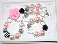 Pink and Black Chunky Bubblegum Bead Necklace by SamdipityBowtique, $24.95