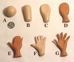 Photo tutorial on making hands for polymer clay dolls or art figures. Tutoriel photo s Polymer Clay Kunst, Polymer Clay Dolls, Polymer Clay Projects, Polymer Clay Charms, Polymer Clay Creations, Clay Crafts, Polymer Clay People, Polymer Clay Figures, Paperclay