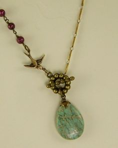 Vintage Inspired Necklace  Antiqued Brass and by lecollezione, $35.00