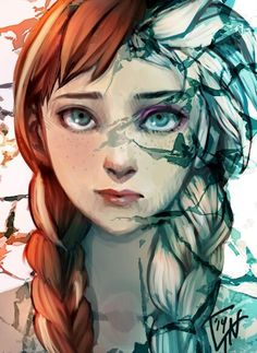 Elsa and anna frozen in one face