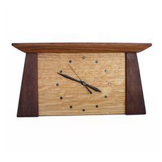Prairie Mantel Clock in Walnut and Quarter-sawn White Oak Mantel Clocks, Wood Clocks, Wood Home Decor, Home Decor Items, Bamboo Furniture, Furniture Decor, Craftsman Frames, Craftsman Style, Quarter Sawn White Oak