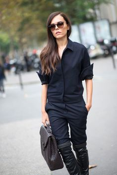 The Heroine jumpsuit mentioned in the 30 best street style looks spotted at Day 1 of Paris Fashion Week. Street Style 2014, Spring Street Style, Street Style Looks, Looks Style, My Style, Cool Street Fashion, Paris Fashion, Leather Over The Knee Boots, Looks Dark