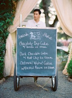 Why not have an ice cream cart at your reception?!  This is super adorable and definitely a fun way to give your guests a memerable treat after dinner!