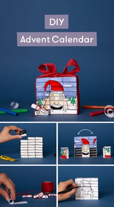 Learn how to make a DIY Advent Calendar out of matchboxes. You fill each matchbox with a delightful challenge you can do with your kids. When they complete a challenge they get to turn the matchbox around, revealing a new Santa on the other side. This Advent Calendar is just one of the many crafts, activities, and tutorials you can check out on Lost My Name's Clever Ideas blog.