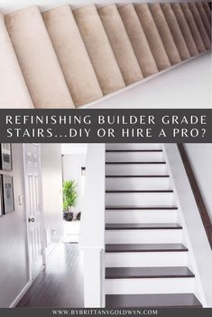 When it came to refinishing builder grade stairs from carpet to wood in our home, here's how I decided whether to DIY or hire a pro (with all of my real cost figures!) Oak Stairs, Wooden Stairs, Basement Living Rooms, Staircase Remodel, Builder Grade, Vinyl Plank Flooring, Luxury Vinyl Plank, Carpet Stairs, Diy Home Decor Projects