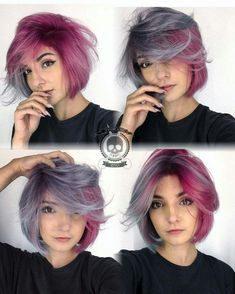 Red Pink and Purple Grey Hair