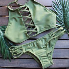 venice high neck crop bikini in olive green - shophearts - 1