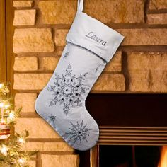 Christmas Elegance Personalized Embroidered Silver Snowflakes Velvet Christmas Stocking