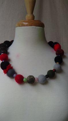 Beautiful  felted balls  necklace  Silver gray Hand by rafaelart, $10.00