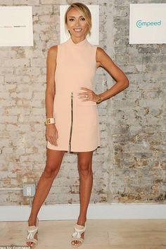 Giuliana Rancic wearing Topshop Premium High Neck Shift Dress and Hermes White Leather Collier De Chien Cdc Bracelet