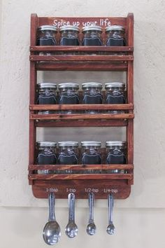 12 Jar Spice Rack Mason Jar Spice Rack Spice Jar by PalletsNstuff Hanging Spice Rack, Wall Spice Rack, Spice Holder, Wooden Spice Rack, Diy Spice Rack, Wall Hanging Storage, Spice Storage, Jar Storage, Storage Ideas