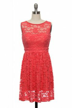Lacey and Lovely Dress in Coral, just needs a belt