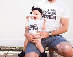 Star Wars themed onesie -- It doesn't get more adorable than this! My favorite daddy-daughter duo in their @canvasavenue Star Wars themed tees are over on the blog today and you should probably bookmark that page for the days when you need a smile. It'll be more than enough of your much needed daily dose of happiness...just saying