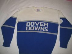 Vintage 80's DOVER DOWNS Raceway Wool Knit Crew Neck Sweater Cliff Engle USA  L