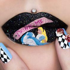 Suzi Lipstick Body Painting with Lip Art, Body Painting with Lip Art Alice in Wonderland. Body Painting with Lip Art. To see more art and information about Jazmina Daniel click the image. Lipstick Designs, Lip Designs, Makeup Designs, Eye Makeup Art, Lip Makeup, Fairy Makeup, Mermaid Makeup, Beauty Makeup, Lipstick Art