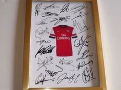 Arsenal Football Club signed autographed A4 print on black card mount black frame or gold frame