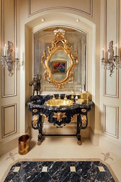 -France Antique Vanity Powder Room In Gold / Onyx Drop Sink - Bathroom decor ideas Luxury Interior, Interior Design, Antique Vanity, Beautiful Bathrooms, French Antiques, Luxury Homes, Luxury Mansions, Beautiful Homes, Decoration