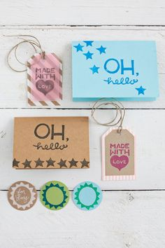 Carve out a cute greeting using a linoleum block or an old eraser. Stamp it onto your gift tags for a personal touch.