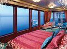 Garden Villa Master Bedroom on board Norwegian Cruise Line. What a view!