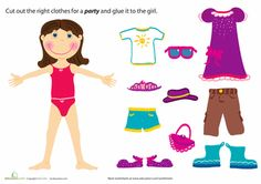Preschool Paper Projects Social Skills Worksheets: Paper Doll Girl: Party Fashion free paper dolls at artist Arielle Gabriel's The International Paper Doll Society also free Asian paper dolls at The China Adventures of Arielle Gabriel * Preschool Social Studies, Body Preschool, Preschool Arts And Crafts, Free Preschool, Primary School Education, Printable Activities For Kids, Free Printables, Paper Dolls Printable, Paper Piecing Patterns