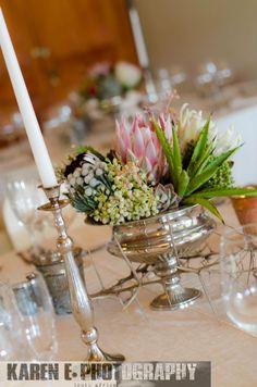 Silver Rose Bowl Arrangement w/ Mixed Proteas, Aloe & Succulents