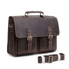 Luxury Designer Dark Brown Leatehr Men Messenger Bag RL028