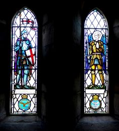Stained glass windows, St Gregory's, Kirknewton. Two stained glass windows in the north wall of the Parish Church of St Gregory the Great