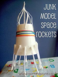 model space rocket Are your kids fascinated by outer space? They loved this junk model space rockets and lunar landscapeAre your kids fascinated by outer space? They loved this junk model space rockets and lunar landscape Space Projects, Projects For Kids, Kids Crafts, Art Projects, Space Activities For Kids, Stem Activities, Outer Space Crafts For Kids, Space Kids, Space Space
