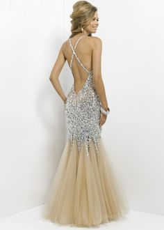 Sexy beaded open back nude prom dress at RissyRoos.com. (Blush 9702)
