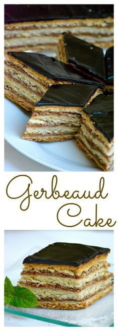 Hungarian Gerbeaud Cake (Zserbó szelet) is probably the best known Hungarian dessert. A wonderful and delicious homemade layered cake with walnut and apricot jam filling, covered with chocolate. Hungarian Desserts, Hungarian Cake, Hungarian Cuisine, Hungarian Recipes, Hungarian Food, Hungarian Cookies, Romanian Desserts, Sweet Recipes, Cake Recipes