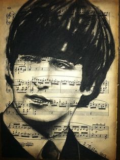 Sheet Music Art ~ John Lennon (would like to have one like this but with a different artist) Sheet Music Art, Box Art, Smart Art, Male Sketch, Art, Beatles Art, Portrait, Music Art, John