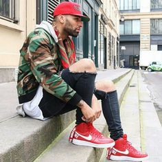 Red highlight with kicks, a red fitted and camo #Done