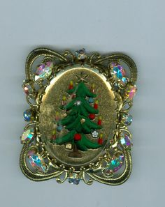 Vintage Justwin Christmas Tree Pin Brooch In Ornate Frame Costume Jewelry - Pins & Brooches #cshort Christmas in July coupon available