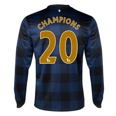 2013-14 Manchester United Away LS 20th Champions Football Shirt