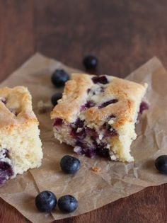 A baked fluffy blueberry breakfast cake that is warm and delicious and can be eaten at any time of the day.