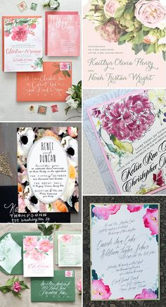Painterly Watercolour Flora - Dramatic Floral Wedding Stationery | www.onefabday.com