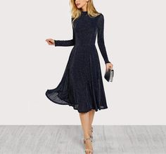 A line ladies dresses navy long sleeve mock neck glitter fit abd flare dress stand collar party dress Fit N Flare Dress, Fit And Flare, Glitter Party Dress, Dress Party, Montana, Elegant Party Dresses, Long Sleeve Party Dresses, Boutique Fashion, Fall Dresses