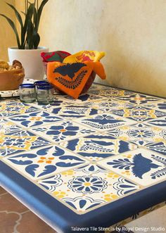 17 Floor to Ceiling Tile Stencils Transformations using Royal Design Studio Stencils - Stenciled and Painted Furniture with Spanish / Mexican Talavera Tiles Design