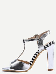 19$  Buy now - http://diwq9.justgood.pw/go.php?t=1737 - Silver T-Strap Slingback High Heel Sandals 19$