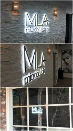 """Microblading LA has a unique logo that plays on the """"la"""" in """"microblading"""" and the fact that they're in LA, Los Angeles. Also to emphasize what they specialize in, the bar in the larger """"A"""" is an eyebrow.  We displayed their clever logo as a beautiful wall sign in their lobby. We think that it looks amazing with the white stone wall.  #signage #signs #resource4signs"""