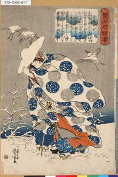 Куниеси--Токива-героини бегут с детьми через сугробы  _  Kuniyoshi--Tokiwa-gozen fleeing with her children through the snow   _   Utagawa Kuniyoshi