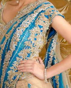 Embellished Nude and Cobalt Blue Lengha Sari with Sequined Blouse - Exclusively In