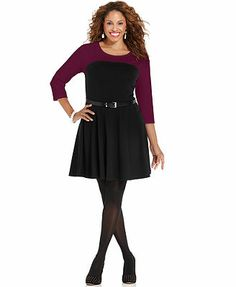 ING Plus Size Three-Quarter-Sleeve Colorblocked Belted A-Line Dress