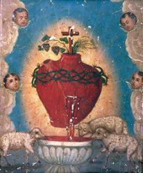 Corazon Sagrado de Jesus, anonymous mexican retablo, oil on tin, late 19th century.