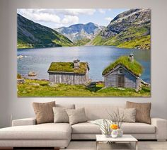 Dreamy landscape Scandinavian art Norway fjord photograph Blue Canyon Clouds Coast Cottage Nautical Picture Art Peaceful fjord landscape by ArtWog Nautical Pictures, Norway Landscape, Ocean Home Decor, Norway Fjords, Oversized Wall Art, Thing 1, Garage Art, Scandinavian Art, Office Wall Decor